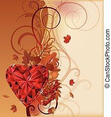 autumn banner ruby heart