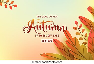 Autumn banner vector background. Fall floral design, text offer sale sign. Red, orange, green abstract leaves in simple flat paper cut style. Autumnal page discount