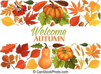 Autumn banner with border of fall leaf, pumpkin - Autumn...