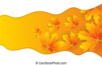 autumn banner with leaves and white wavy lines