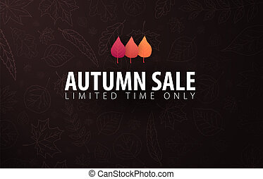Autumn banner with leaves for shopping sale, promo poster and frame leaflet, web banner. Vector illustration.