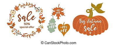 Autumn banner with leaves, frame and pumpkin isolate on white background. Vector graphics.