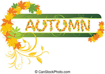 Autumn banner with maple leaves