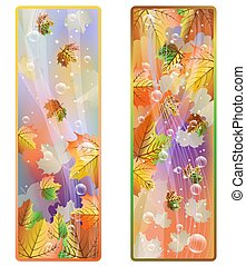 Autumn banner with maple leaves, vector illustration