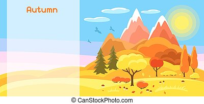 Autumn banner with trees, mountains and hills. Seasonal illustration