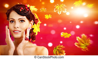Autumn banners leaves background of beautiful woman