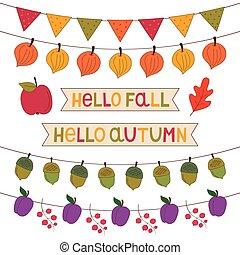 Autumn banners set, isolated decoration set