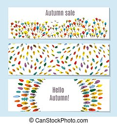 Autumn banners set with leaves illustration