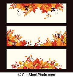 Autumn Banners with Leaves, Chestnuts and Ripe Berries, Vector Illustration