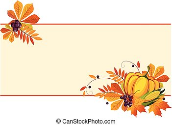 Autumn, thanksgiving Banners with Ripe Vegetables, Swirls and Leaves, Vector Illustration
