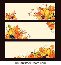 Autumn Banners with Ripe Vegetables, Swirls and Leaves,...