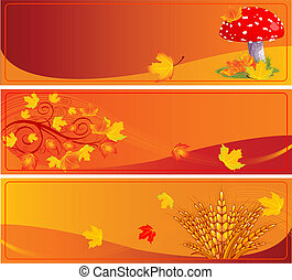 Autumn banners with space for text.