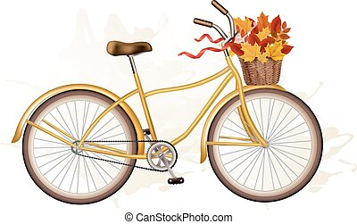 Autumn bicycle with colorful leaves. Vector.