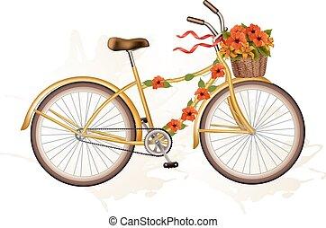 Autumn bicycle with orange flowers.