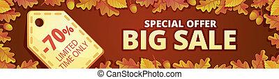 Autumn big sale banner horizontal, cartoon style