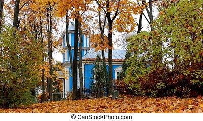 Autumn. Blue church