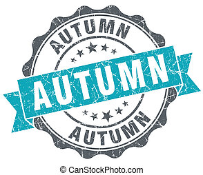 Autumn blue grunge retro style isolated seal