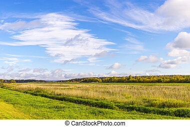 Autumn blue sky and field panorama