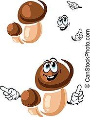 Autumn boletus mushroom cartoon character
