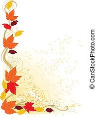 A fancy border featuring autumn leaves and scrolls