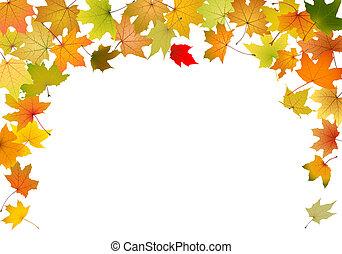 Maple autumn leaves falling border, vector illustration.