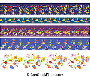 Autumn borders design set with flowers and fruits