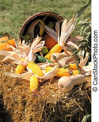 Autumn Bounty - Bushel basket of Fall produce spilling out...