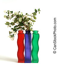 Autumn bouquet in a vase with colored glass on a white background