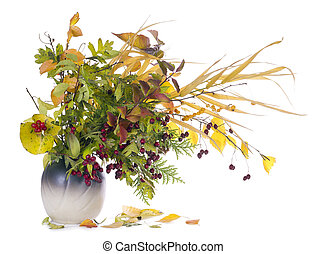 autumn bouquet in jug - autumn red yellow plants leaves ...