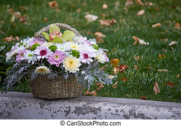 Autumn bouquet of multi-colored chrysanthemums in a basket on a background of green grass, selective focus