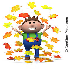 autumn boy - cartoon boy playing with autumn leaves - 3d...