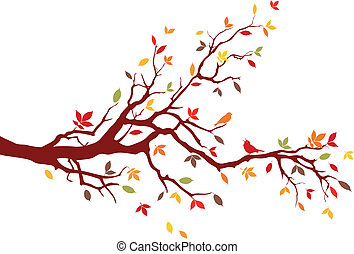 Autumn branch - Autumn tree with colorful leaves, vector