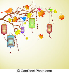 vector illustration of chineses lantern birds and colorful leaves on a branch