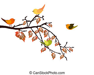 Vector illustration of colorful leaves and birds on an autumn branch