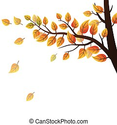 Autumn branch with leaves on white background, vector illustration