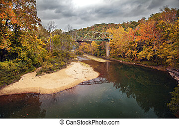 Autumn Bridge - A bridge over the Buffalo River in Arkansas ...