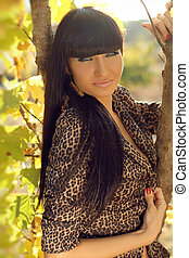 Autumn Brunette Woman Fashion, Outdoors Portrait.