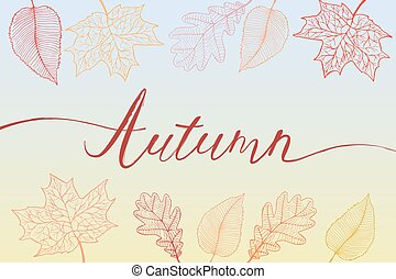 Autumn brush hand written title with colorful bright leaves