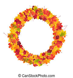 Autumn bunch of maple leaves isolated on white background