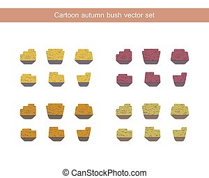 Autumn bush vector set