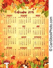 Autumn calendar template of fall nature season