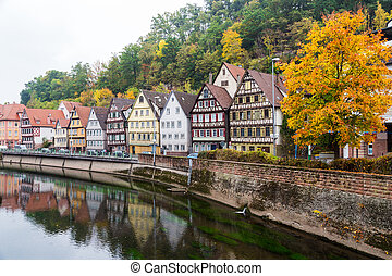 Autumn Calw city in Germany - Autumn embankment of Nagold...