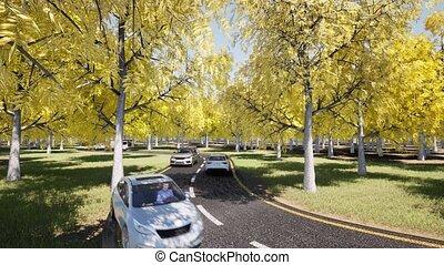 Autumn car traffic landscape on yellow backdrop Travel concept Fall foliage
