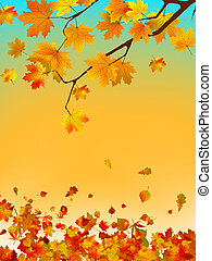 Autumn card of colored leafs with copy spac. EPS 8