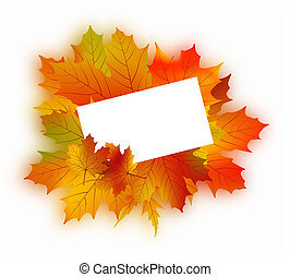 Autumn card on white.