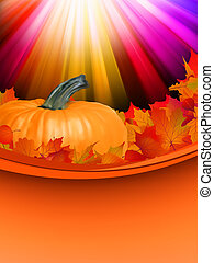Autumn card template leaves with Pumpkin. EPS 8