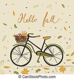 Autumn card with bike