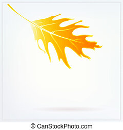 Autumn card with falling leaf and soft white lights