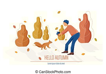 Autumn card with man feeding a squirrel Vector flat style illustrations