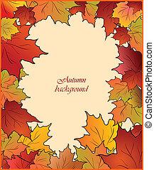 Autumn card with maple - Autumn cute card with maple. Vector
